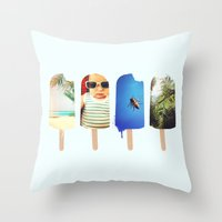 popsicle Throw Pillows featuring Popsicle by Jemma Pope