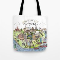 new york city Tote Bags featuring New York City Love by Brooke Weeber