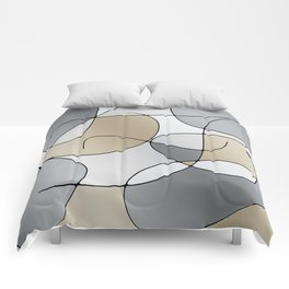 ABSTRACT CURVES #1 (Grays & Beiges) Comforters
