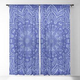 Blue Boho Mandala Sheer Curtain