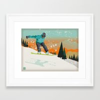 snowboard Framed Art Prints featuring Snowboard Jump by Park City Posters