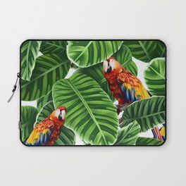 tropical leaves macaw pattern Laptop Sleeve