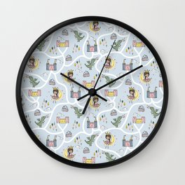 Childish seamless pattern with princess and dragon blue background Wall Clock