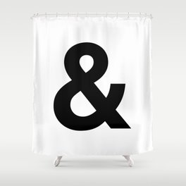 HELVETICA & letter Shower Curtain