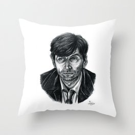 David Tennant as Broadchurch's Alec Hardy (or Gracepoint's Emmett Carver) (Graphite) Portrait  Throw Pillow