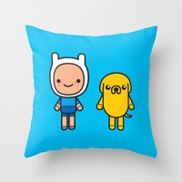 finn and jake Throw Pillows featuring #48 Jake and Finn by Brownjames Prints