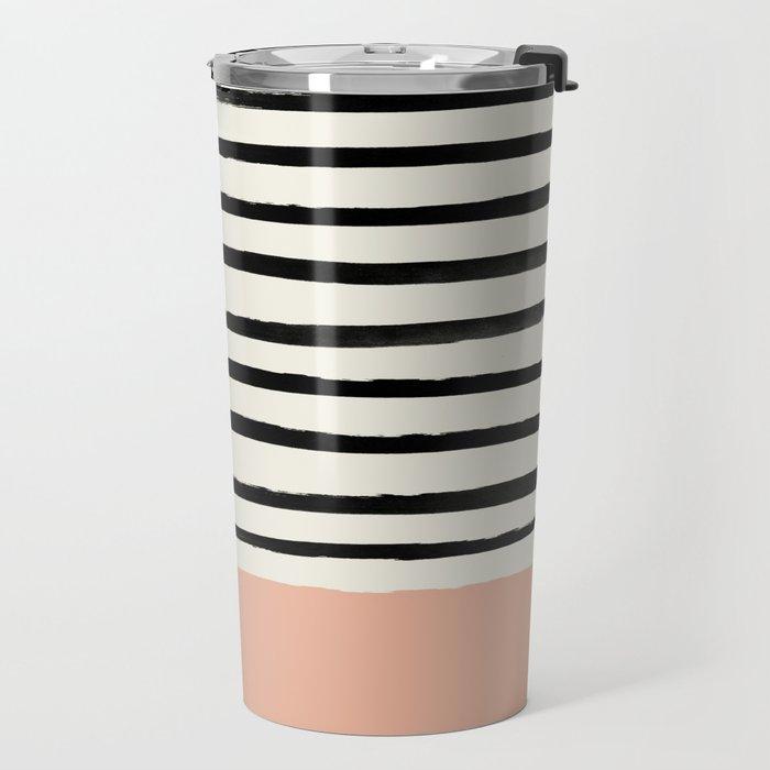 Peach x Stripes Travel Mug