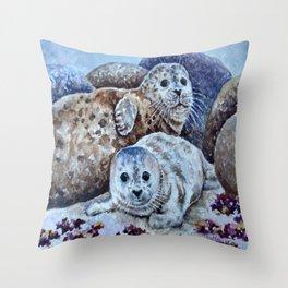 Harbor Seals of Monterey Bay Throw Pillow