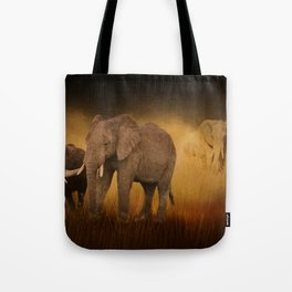 Elephants In The Tall Grass Tote Bag