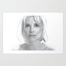 Charlize Theron  Portrait Art Print