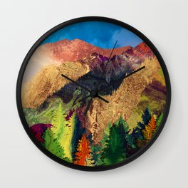 Abstract Mountain Landscape  and forest Digital Art Wall Clock