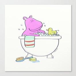 Bath Time Hippo illustration for the bathroom or nursery art Canvas Print