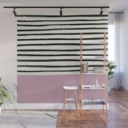 Dusty Rose & Stripes Wall Mural