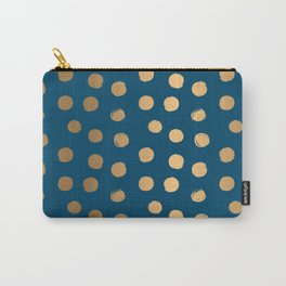 Gold Round Brush Strokes Pattern on Blue background Carry-All Pouch