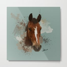 Brown and White Horse Watercolor Light Metal Print