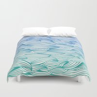 waves Duvet Covers featuring Ombré Waves by Cat Coquillette