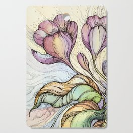 Crocus.Hand drawn watercolor and ink drawing Cutting Board
