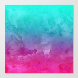 Modern bright summer turquoise pink watercolor ombre hand painted background Canvas Print