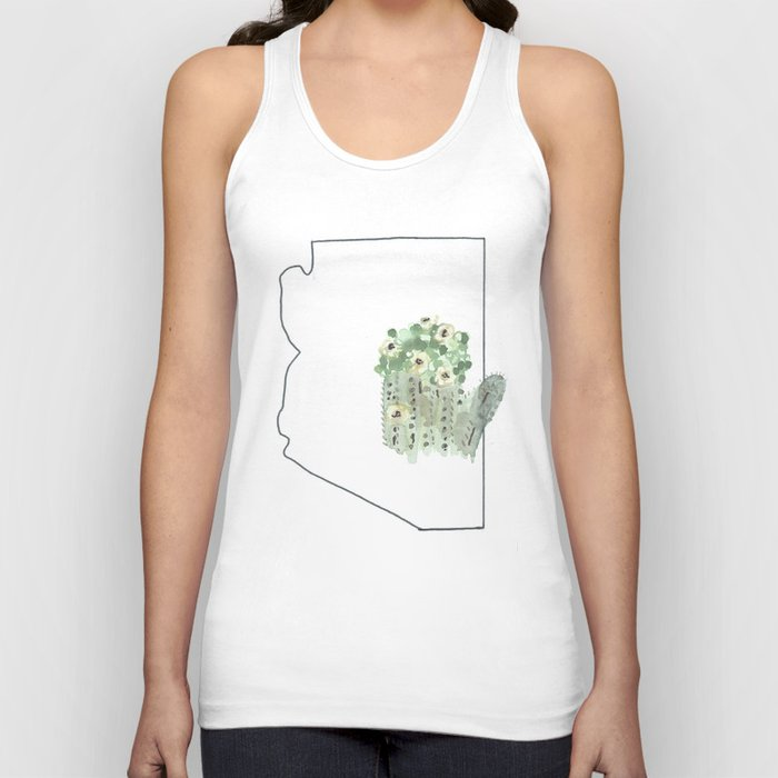 arizona // watercolor saguaro flower state flower map Unisex Tank Top