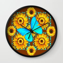 BROWN KANSAS SUNFLOWERS TURQUOISE BUTTERFLIES Wall Clock