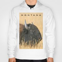 montana Hoodies featuring Montana Bison by David Todd