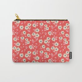 Cream Flowers Red Valentine Carry-All Pouch