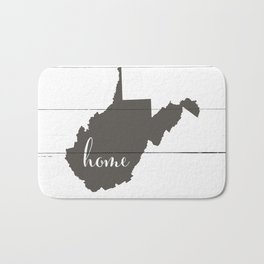 West Virginia is Home - Charcoal on White Wood Bath Mat