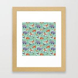 Woodland Animals on Green Framed Art Print
