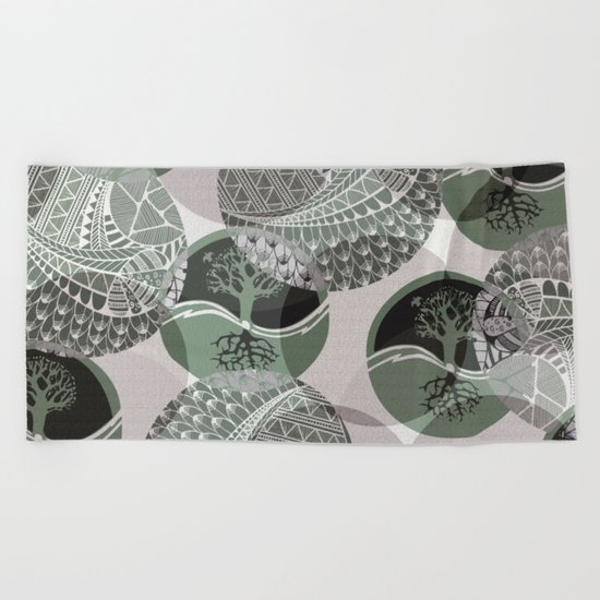 Zentangle and Tree Motifs in Circles Beach Towel