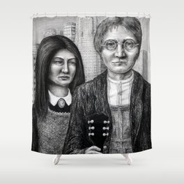 Untitled - charcoal drawing Shower Curtain
