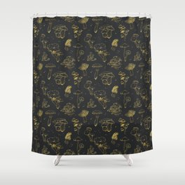Golden mushrooms Shower Curtain