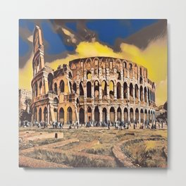 The Colosseum in Gloomy Light Metal Print