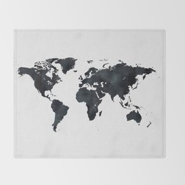 World Map in Black and White Ink on Paper Throw Blanket