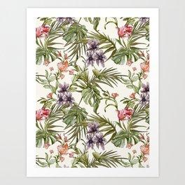 Watercolor tropical foliage Art Print