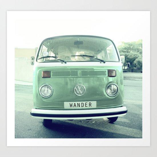 Vintage Wander wolkswagen. Summer dreams. Green Art Print