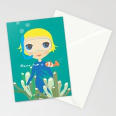 Diver girl Stationery Cards