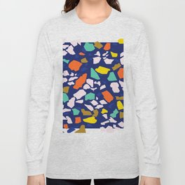 Terrazzo Pattern in Royal Blue Long Sleeve T-shirt
