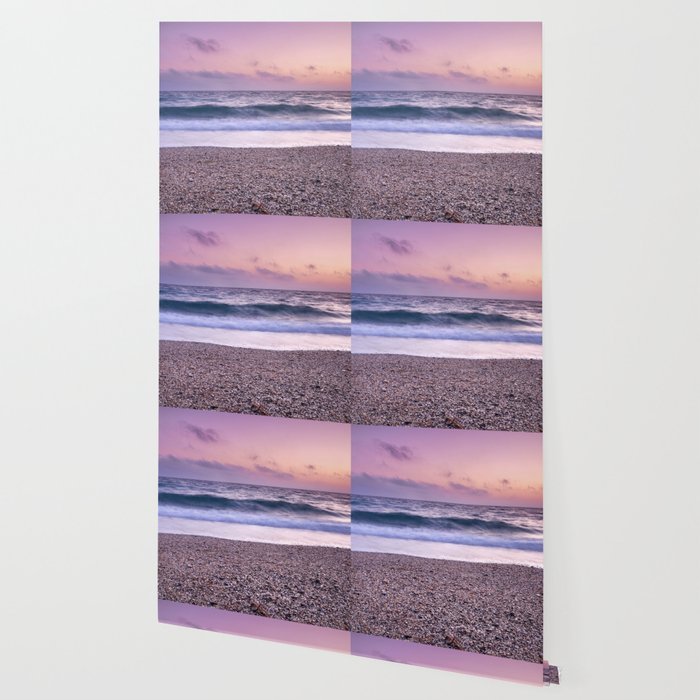 Serenity Sea Purple Sunset At The Beach Wallpaper