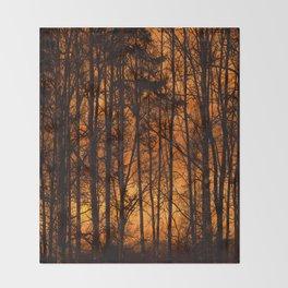 Tree Silhouettes Against The Sunrise Sky - Winter Scene #decor #society6 #homedecor Throw Blanket