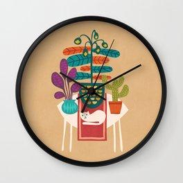 Indoor garden with cat Wall Clock