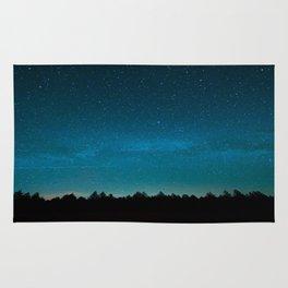 Blue Milky Way Galaxy Pine Tree Silhouette Night Star Sky Rug