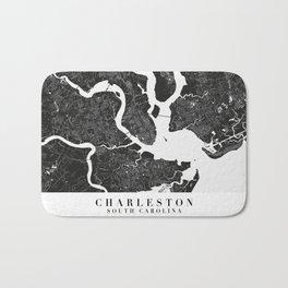 Charleston South Carolina Minimal Black Mono Street Map Bath Mat