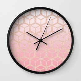 mauve pink ombre with rose gold cube pattern Wall Clock