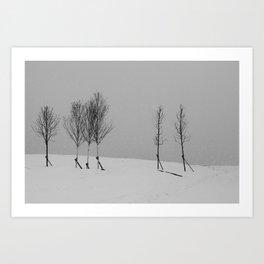 Tree line and snow Art Print