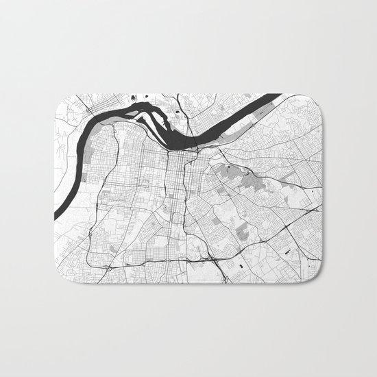 Louisville Map Gray Bath Mat