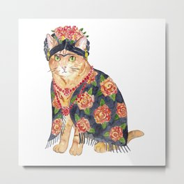 Frida Kahlo cat with flower wreath Painting Wall Poster Watercolor Art Colorful Decor Print Pet Drawing portrait gig funny room nursery Metal Print