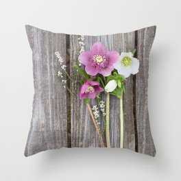 February Bouquet Throw Pillow