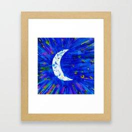 Glitter Crescent Moon Phase Framed Art Print