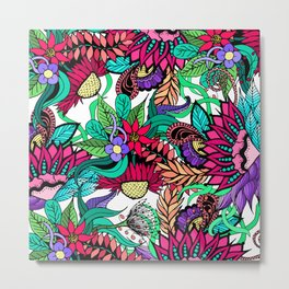 Girly Vibrant Flower Garden Illustrated Drawings Metal Print