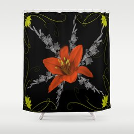 Lily and Gladiolas abstract Shower Curtain